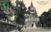 Paris.-La Sorbonne et la Statue d'Auguste Comte